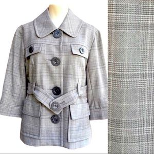 Kensie Gray Plaid Accent Button Belted B…